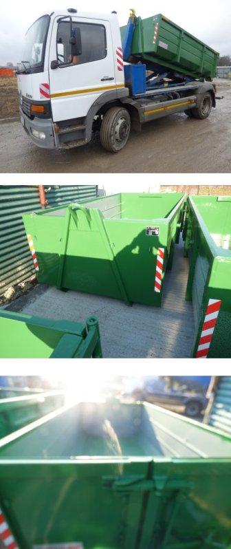 Zasoby firmy maxgruz z Krakowa - kontenery na gruz, śmieci, samochód z kontenerem