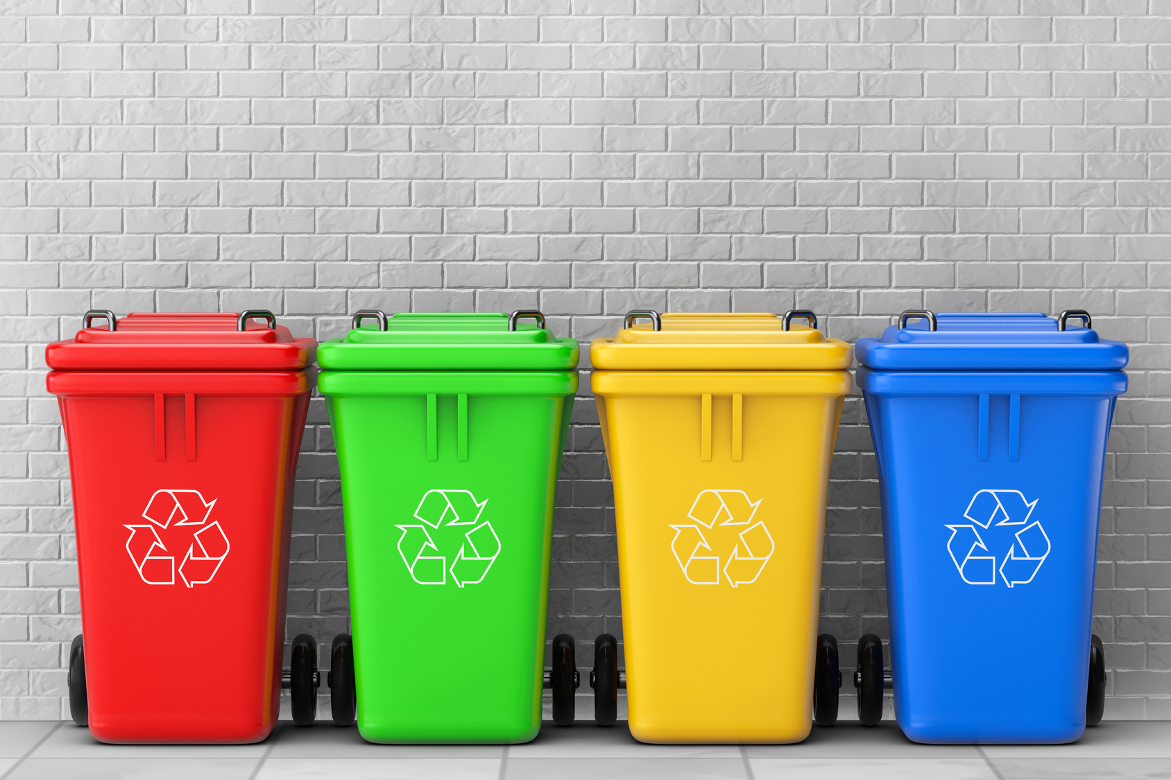 Różnokolorowe pojemniki na odpady komunalne